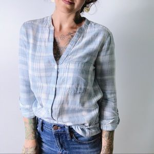 SOFT JOIE Cotton Plaid Split V-Neck Shirt